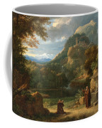 Saint Anthony Of Padua Introducing Two Novices To Friars In A Mountainous Landscape Coffee Mug