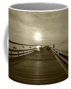 Salem Willows Pier At Sunrise Sepia Coffee Mug