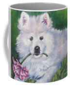 Samoyed Pup With Peony Coffee Mug