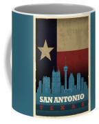 San Antonio City Skyline State Flag Of Texas Art Poster Series 022 Coffee Mug