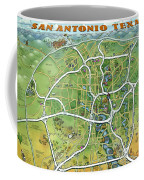 San Antonio Texas Cartoon Map Coffee Mug
