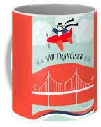 San Francisco California Vertical Scene - Bird In Plane Over San Francisco Coffee Mug