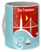 San Francisco California Vertical Scene - East Bay Bridge And Boat Coffee Mug