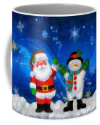 Santa And Frosty Painting Image With Canvased Texture Coffee Mug