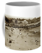 Santa Cruz Beach With Ideal Fish Restaurant 1930's Coffee Mug