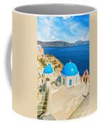 Santorini Oia Church Caldera View Digital Painting Coffee Mug