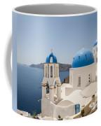 Santorini Oia Churches Stitched Panorama Coffee Mug