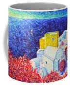 Santorini Oia Colors Modern Impressionist Impasto Palette Knife Oil Painting By Ana Maria Edulescu Coffee Mug