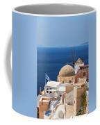 Santorini Windmill And Church Coffee Mug