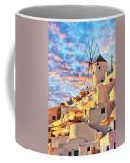 Santorini Windmill At Oia Digital Painting Coffee Mug