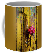 Saxophone And Roses On Wall Coffee Mug