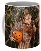 Scarecrow With A Carved Pumpkin  In A Corn Field Coffee Mug