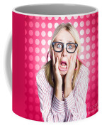 Scared Goofy Business Person Expressing Fear Coffee Mug