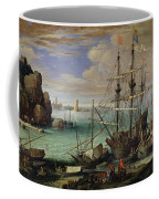 Scene Of A Sea Port Coffee Mug