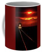 Scenic View Of An Approaching Trrain Near Sunset Coffee Mug