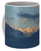 Scenic View Of The Dolomite Mountains With Snow  Coffee Mug