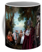 Schapendoes Art Canvas Print - Dance Before A Fountain Coffee Mug