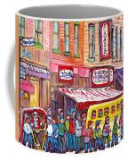 Schwartz's Smoked Meat Deli On The Main Montreal Hockey Art Scenes School Bus Painting C Spandau Art Coffee Mug