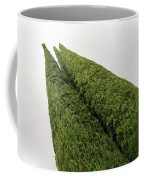 Sculpturesque Greenery - Three Cypress Trees Chiseled Against The Sky Coffee Mug
