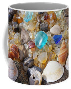 Sea Shells Art Prints Blue Seaglass Sea Glass Coastal Coffee Mug