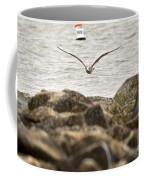 Seagull Flying Into Ocean Jetty Coffee Mug
