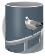 Seagull On The Rail Coffee Mug