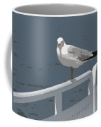 Seagull On The Rail Coffee Mug