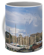 Seagulls Over Mylor Creek Boatyard Coffee Mug