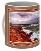 Seascape Scene On The Coast Of Cornwall L B With Alt. Decorative Ornate Printed Frame. Coffee Mug