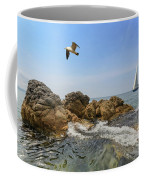 Seascape With A Yacht Coffee Mug