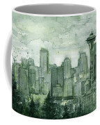 Seattle Skyline Watercolor Space Needle Coffee Mug