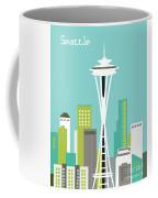 Seattle Washington Vertical Skyline - Teal Coffee Mug