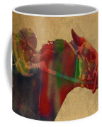 Secretariat Horse Race Watercolor Portrait Coffee Mug