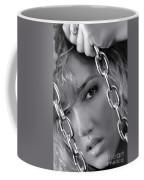 Sensual Woman Face Behind Chains Coffee Mug