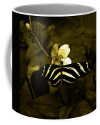Sepia Butterfly And Flower Coffee Mug
