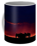 Set Sun Silhouetting Horses On Saskatchewan Ridge Coffee Mug