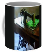 Sewing Machine With Green Cloth Coffee Mug