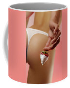 Sexy Fitness Woman With An Appetizing Strawberry Coffee Mug