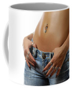 Sexy Woman With Pierced Belly In Blue Jeans Coffee Mug