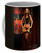 Sexy Young Woman In Black Lingerie Coffee Mug