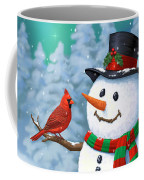 Sharing The Wonder - Christmas Snowman And Birds Coffee Mug by Crista Forest