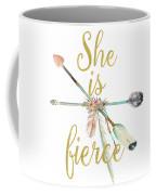 She Is Fierce Boho Tribal Gold Blush Arrow Print Coffee Mug