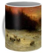 Sheep In A Winter Landscape Evening Coffee Mug