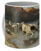 Shepherd With Cows On The Lake Shore Coffee Mug