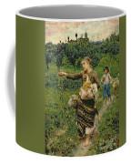 Shepherdess Carrying A Bunch Of Grapes Coffee Mug by Francesco Paolo Michetti