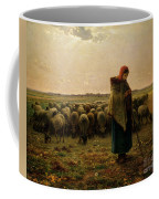 Shepherdess With Her Flock Coffee Mug by Jean Francois Millet