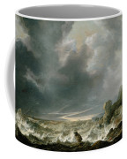 Ship In Distress Off A Rocky Coast Coffee Mug
