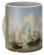 Ships At Anchor On The Coast  Willem Van De Velde II C 1660 Coffee Mug