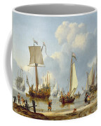 Ships In Calm Water With Figures By The Shore Coffee Mug
