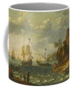 Ships Moored Off A Rocky Coastline With Fishermen Unloading Their Catch Coffee Mug
